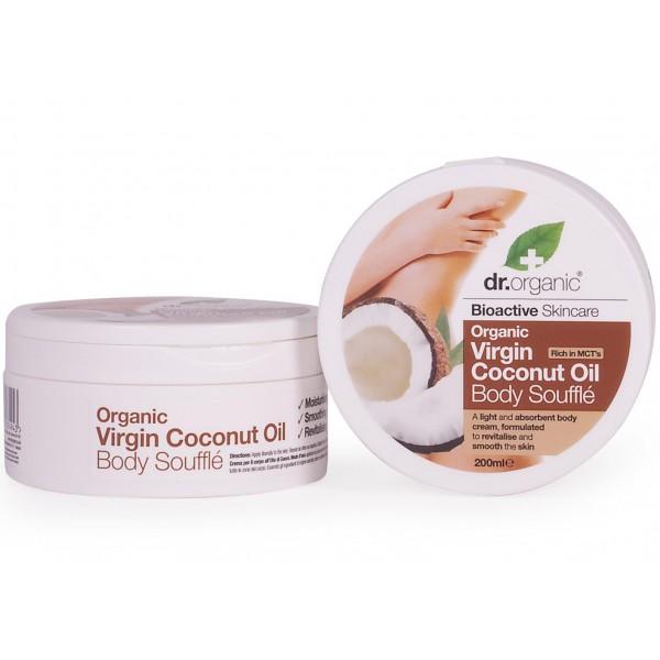 Dr Organic testápoló szuflé bio szűz kókuszolajjal, 200 ml