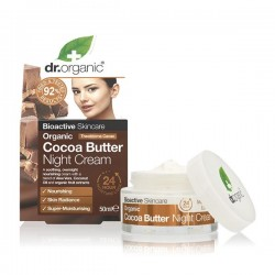 Dr Organic éjszakai arcápoló krém bio kakaóvajjal, 50 ml