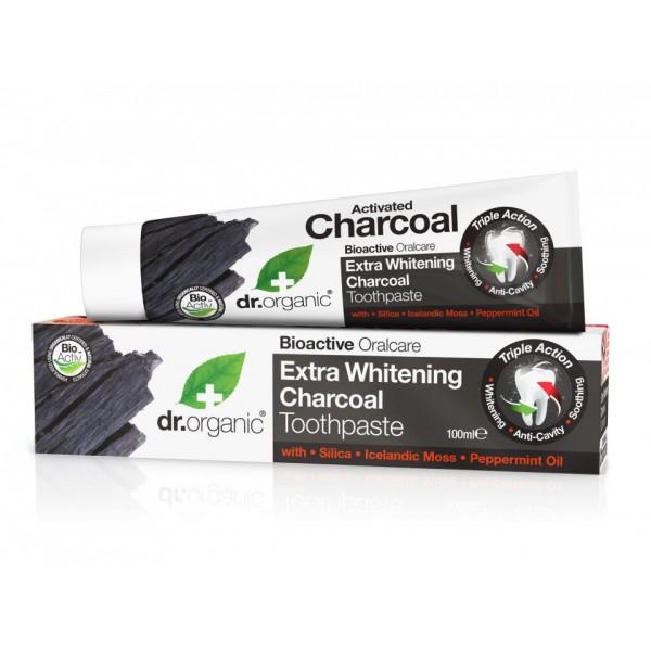 Dr Organic extra fehérítő fogkrém aktív szénnel, 100 ml