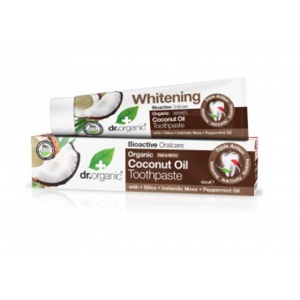 Dr Organic fehérítő fogkrém bio kókuszolajjal, 100 ml