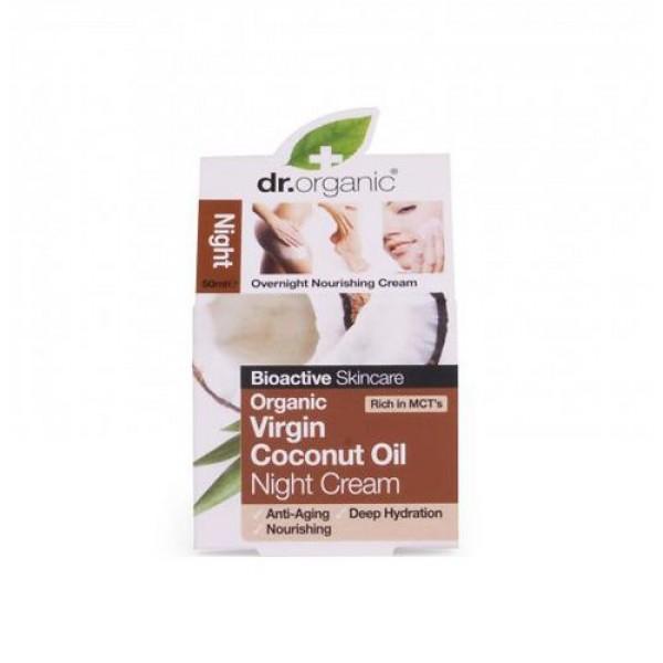 Dr. Organic gazdagon tápláló éjszakai arcápoló krém bio szűz kókuszolajjal, 50 ml