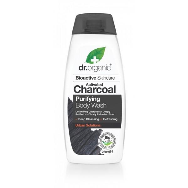Dr Organic mélytisztító tusfürdő aktív szénnel, 250 ml
