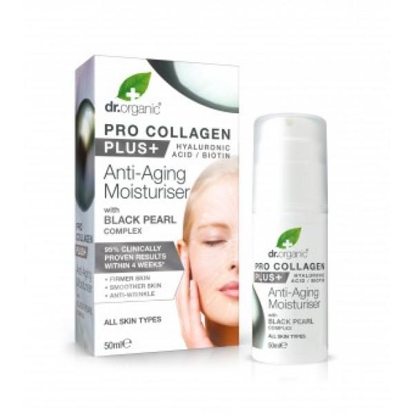 Dr Organic Pro Collagen Anti-Aging hidratáló arckrém fekete gyönggyel, 50 ml